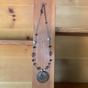 Wire and beaded wooden medallion necklace